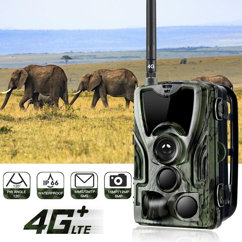 Caméras de chasse 4G MMS caméras de chasse 16MP 1080P infrarouge PIR extérieur étanche Surveillance de la faune HC801LTE US avec batterie