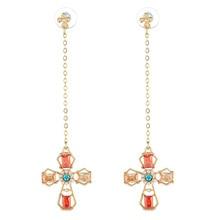 hot deal buy fashion long red cross earrings for women rhinestone dangle earrings pearl jewelry gold long earrings fashion jewelry 2019