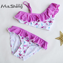 2-14 Years Baby Girl Swimsuit Kids Flamingo Cartoon Teenager Girl Bikinis One Shoulder Toddler Infant Girl Bathing Suit Ruffle