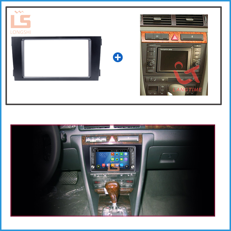 2 DIN Black Double Din Car Radio Fascia for 2002 2006 Audi A6 Panel Adaptor DVD Frame Dash Installation Kit 2din in Fascias from Automobiles Motorcycles