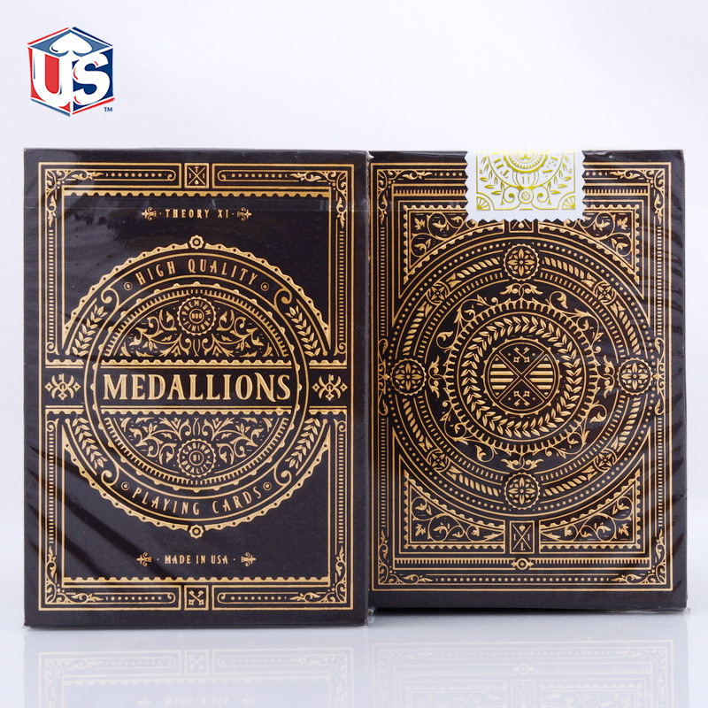 Theory 11 Medallions Playing Cards USPCC Medallion Signature Edition Deck Gold Embossed Box Poker Magic Cards Magic Tricks Props