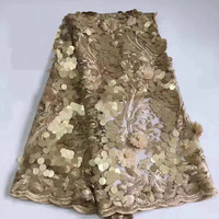 African lace fabric 2018 high quality golden lace sequin lace fabric sewing Indian fabrics for wedding dresses