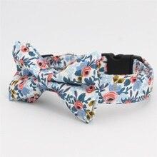 Роза цветочный узор собака украшения на шею и поводок с галстуком-бабочкой для большой и маленькой собаки