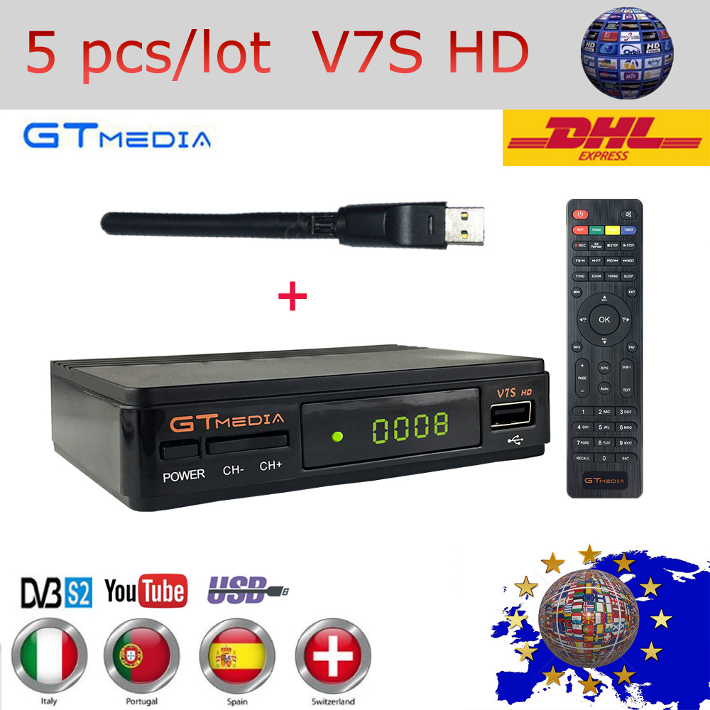 5 pcs lot GTMEDIA Freesat V7S HD Satellite Receiver DVB S2 1080P HD Support Clines Newcam