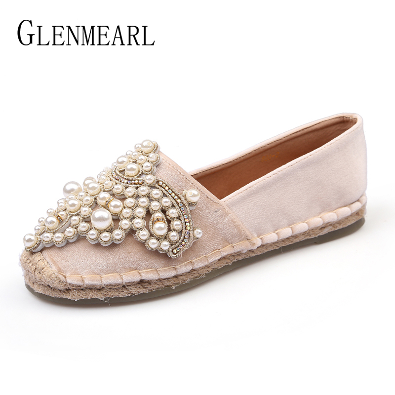 Brand Women Loafers Fisherman Shoes Flats Spring Slip On Espadrilles pearl Casual Boat Shoes Woman Single Plus Size Velvet NewDE new black embroidery loafers men luxury velvet smoking slippers british mens casual boat shoes slip on flat shoes espadrilles