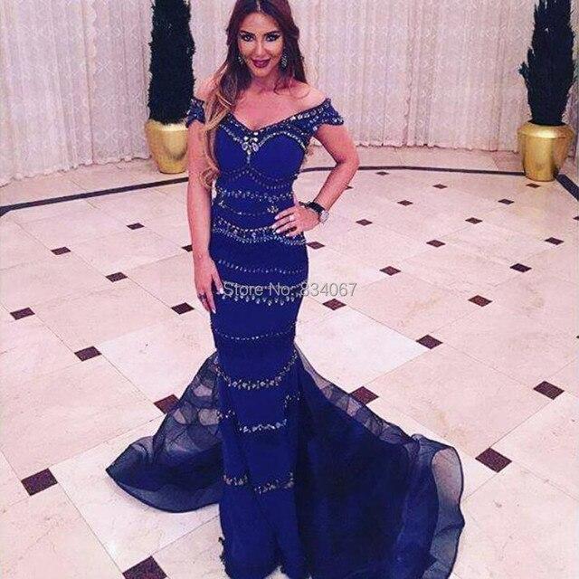 Indien Robes De Soirée Longue 2017 Foncé Bleu Off Épaule Perles Femmes  Formelle Robes Sirène Robe