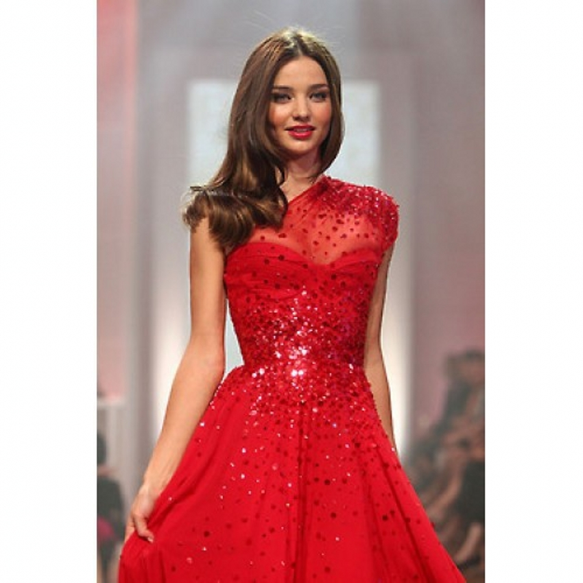 Velvet Miranda Kerr Red Long Prom Dresses 2015 with Crystal Party ...
