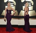57th Grammy 2016 Celebrity Red Carpet Dresses Bonnie McKee Spaghetti Straps Sleeveless Backless Mermaid Formal Evening Gowns