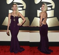 57th Grammy 2019 Celebrity Red Carpet Dresses Bonnie McKee Spaghetti Straps Sleeveless Backless Mermaid Formal Evening Gowns