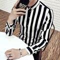 Camisa slim fit masculina de corea de manga larga de los hombres ocasionales camisas de rayas de colores Del Club de Noche/Estilista camisa de los hombres más tamaño 5xl