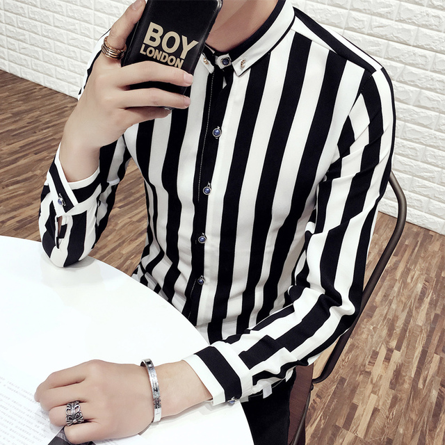 926dbca4011a8 camisa slim fit masculina korean long sleeve casual men s shirts colorful  stripe Night Club Hairstylist
