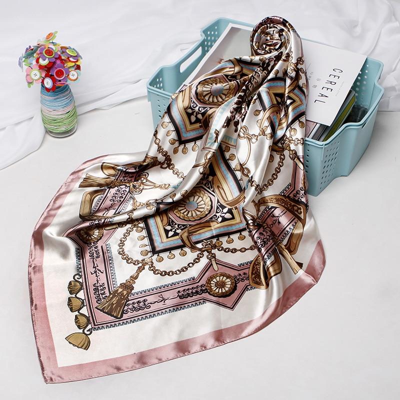 Fashion Hijab Scarf For Women Print Silk Satin Hair Scarfs Kerchief 90*90cm Square Neckerchief Headband Scarves For Ladies 2019