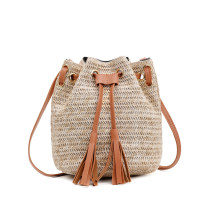 New designer boho bucket bag small summer straw crossbody beach bags for women bolso paja mini rattan shoulder sac paille femme(China)