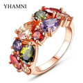 New Fashion Style Pure Gold Plated Wedding Rings for Women Inlay Colourful Zircon Stones CZ Rings Jewelry Wholesale AR012