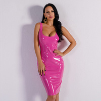Sexy Latex PU Leather Dress Women Party Night Bodycon Dress Cute Neon Pink Dress Summer Outfit
