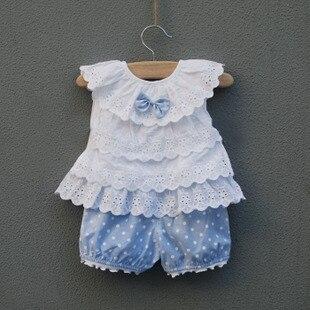Новинка года, комплекты одежды для маленьких девочек детский летний костюм бант для новорожденного, жилет+ шорты для детей милый костюм в горошек для маленьких девочек - Цвет: Синий