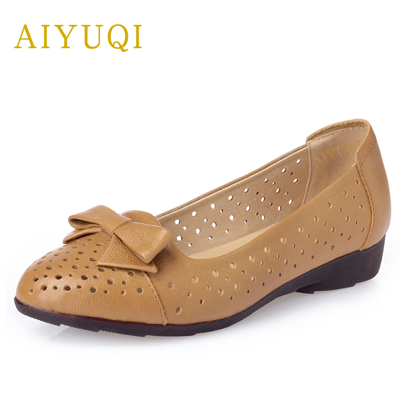AIYUQI New summer shoes for women 2018 genuine leather womans shoes flats big size 41#42#43# bow handmade shoes brands aiyuqi plus size 41 42 43 women s flat shoes 2018 spring new genuine leather women shoes soft surface mom shoes women