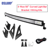 Oslamp Tri Row 50inch Curved Light Bar Offroad Driving LED Light with Upper Windshield Mount for Chevy Silverado/GMC Sierra