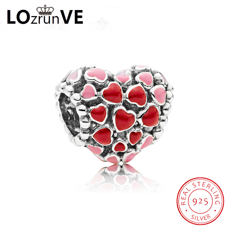 LOZRUNVE original S925 sterling silver DIY jewelry charm lip red smill face glass sweet elegant bracelet bead women wholesale