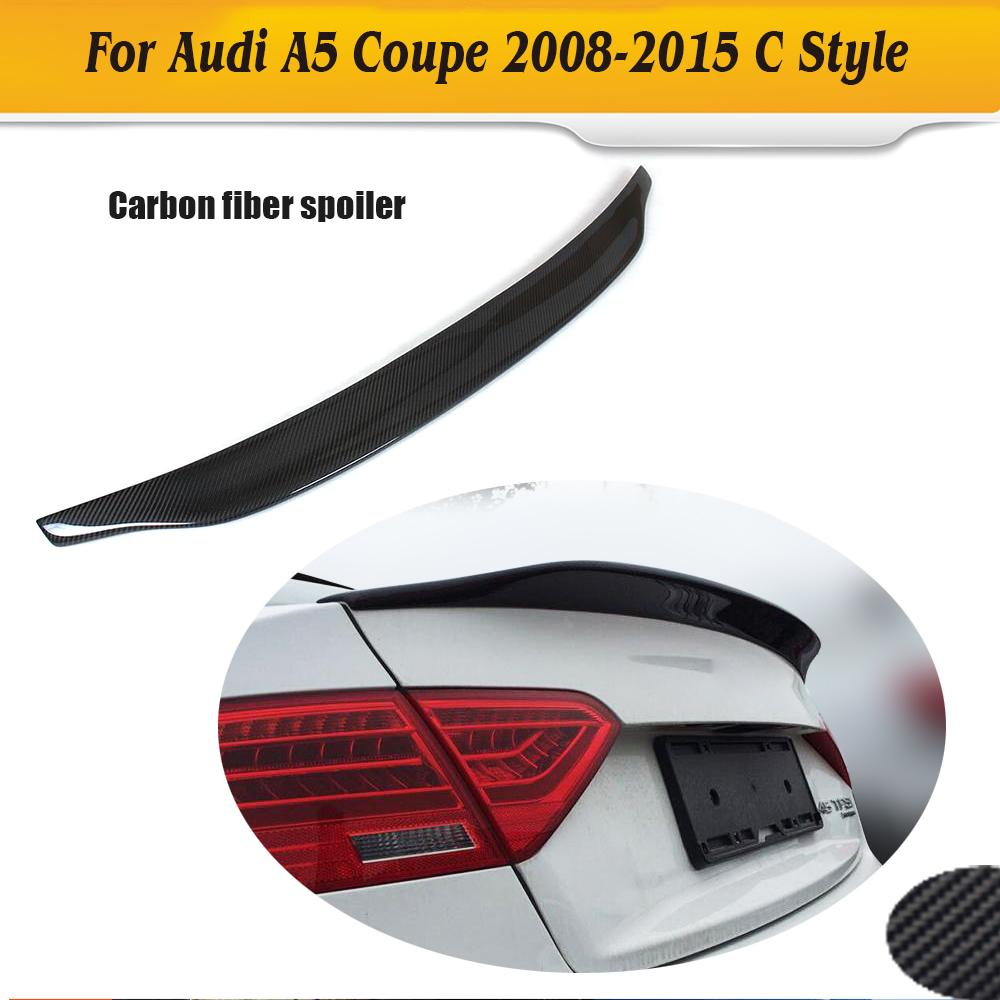 Carbon Fiber Racing Rear Spoiler Car Wing For for Audi A5 Coupe Standard 2 Door Only 08-15 Non S5 Sline C Style carbon fiber car rear bumper lip spoiler diffuser for audi a5 coupe 2 door standard only 2008 2011 non sline black pu s5 style