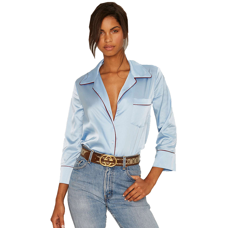 Online Buy Wholesale Blue Satin Blouse From China Blue