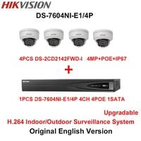 Hikvision Original English H 264 Surveillance System 4pcs DS 2CD2142FWD I 4MP IP Camera POE 6MP