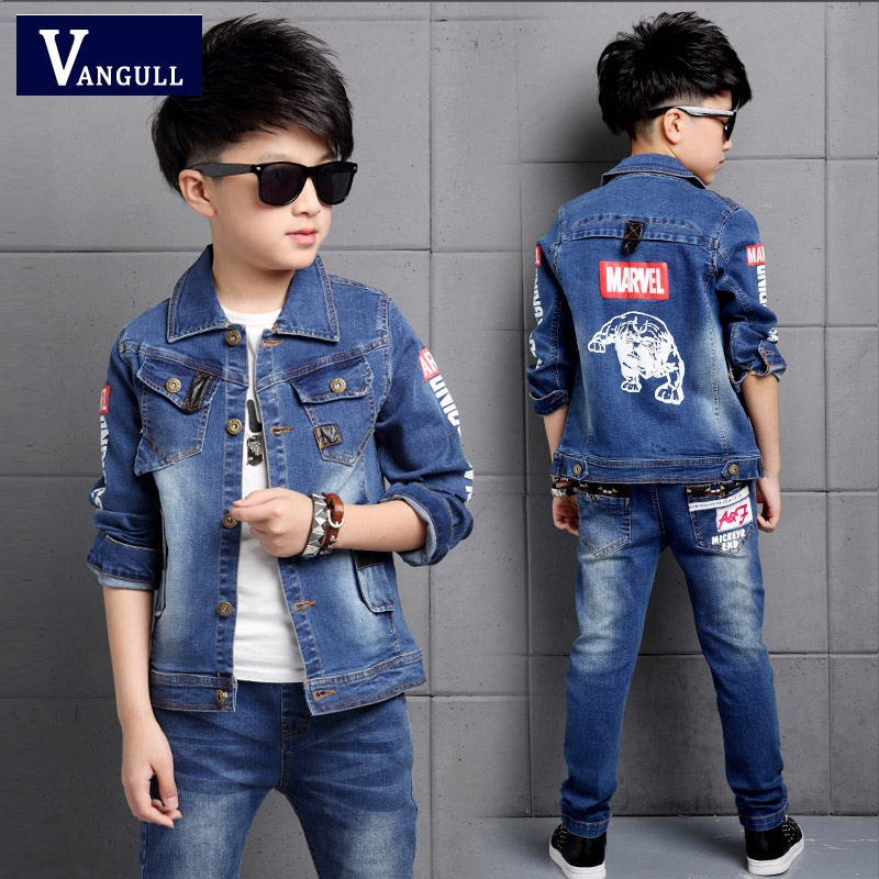 2016 autumn and winter fashion cowboy suit adicolo children 4-15 years old boys cartoon printing letters pocket two sets 2016 autumn and spring new girl fashion cowboy short jacket bust skirt two suits for2 7 years old children clothes set