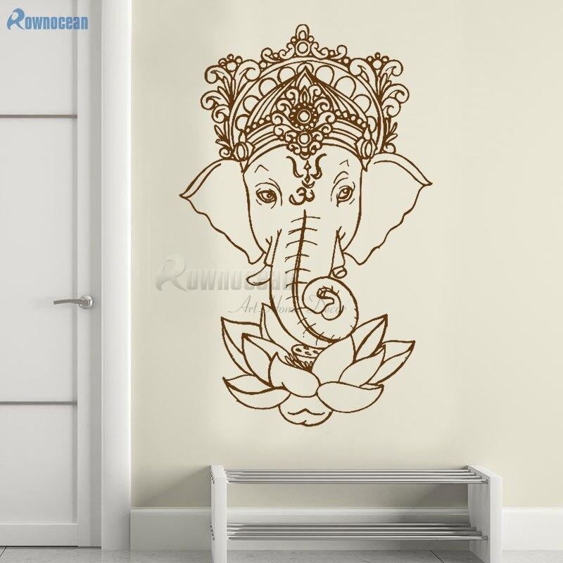 Wall Stickers Éléphant Yoga famille fleur de lotus Living Hall Art Autocollant Vinyle Pièce