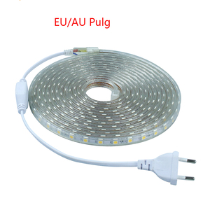 Waterproof flexible led strip light 60leds/m 5050 1 meter to 25 metres available AC220V LED tape with Power Plug