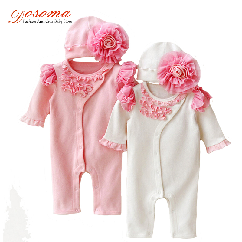 Newborn baby girl clothes kid casual   romper   half sleeve   romper   with hat outfits cotton jumpsuit climbing new born infant clothes