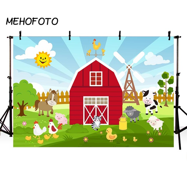 Red Farm Photography Backdrop Rural Animal Theme Birthday Party Banner Cake Table Decorations Baby Shower Photo booth Background