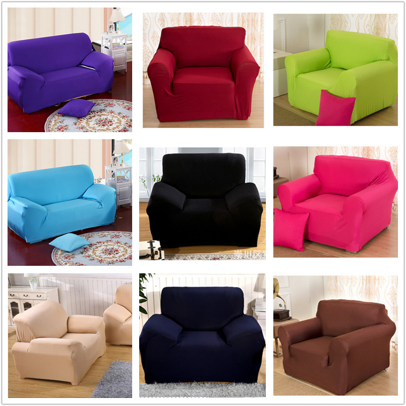 Innovative Textile Spandex Sofa Cover Furniture Protector Solid Colors V45