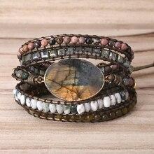 سوار من الجلد بتصميم عتيق من حجر اللابرادوريت مكون من 5 طبقات من الخرز للسيدات سوار بوهو مصنوع يدويًا مجوهرات هدايا