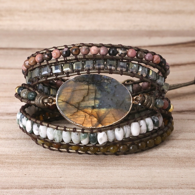 Labradorite stone vintage Leather Bracelet Mix Stones beads Women 5 Layers Wrap Bracelet Boho handmade Bracelet Jewelry gift