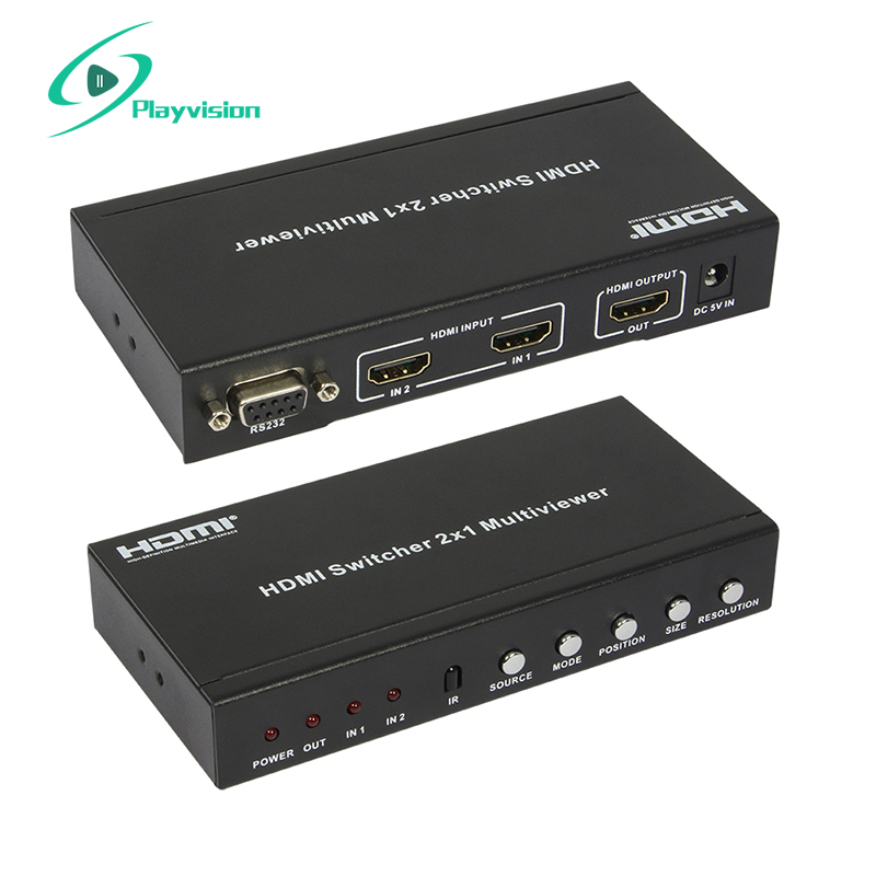 Switch HDMI 2x1 Splitter 2 in 1 Out Multi-Viewer con Supporto PIP PIP 1080 p RS232