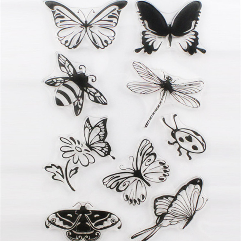 New Scrapbook DIY Photo Album Cards Butterfly Style Transparent Acrylic Silicone Rubber Clear Stamps Sheet Handmade Craft Decor 2016 new scrapbook diy photo album cards transparent acrylic silicone rubber clear stamps sheet enjoy