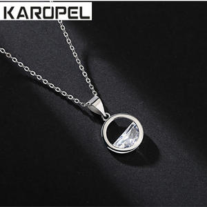 Trendy Rose Gold Silver Color Semicircular Zircon Necklace for Women CZ Zircon Pendants Necklaces Wedding Jewelry