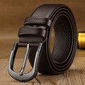 Nuevo 2016 Hombres Correa de Cuero Negro de Alta Calidad de Negocios hombres de La Moda Cinturones Masculinos Larga Hebilla Envío Gratis