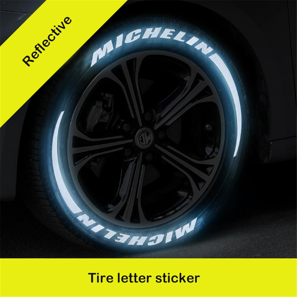 Universal Car Tire Tread 3D Letter Reflective Sticker Motorcycle Stickers English Letter Styling DIY Decoration Reflective Stick