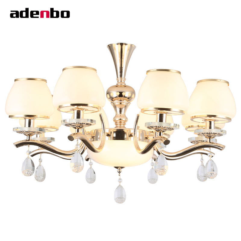 Luxury Modern LED Lustre Crystal Chandeliers Living Room Lighting Fixtures Gold Plated Hanging Lights With Glass Shade