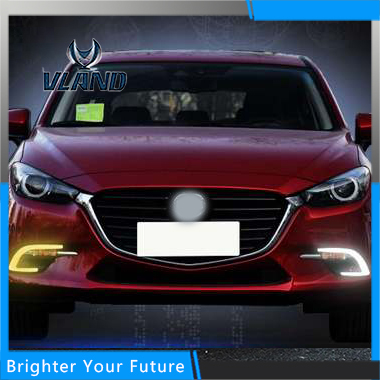 Car Accessories Waterproof Daytime Running Fog Light Lamp DRL Yellow Turn Signals For Mazda 3 Axela 2017 lyc 3 5  round fog lamp yellow for