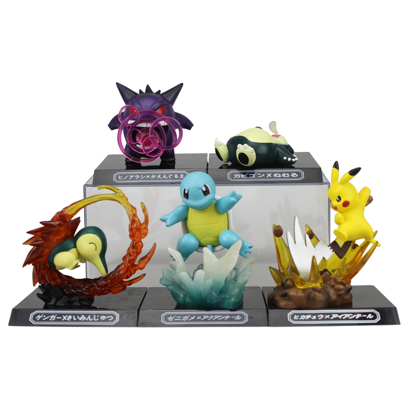 Free Shipping Cute Monster Anime GK Pikachu Squirtle Gengar Cyndaquil Snorlax Boxed PVC Action Figure Model Doll Toys Gift cartoon pikachu waza museum ver cute gk shock 10cm pikachu pvc action figures toys go pikachu model doll kids birthday gift