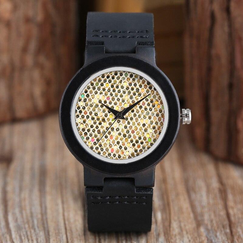 Ladies Crystal Sequin Blink Flake Glitter Ebony Wood Watches Analog Clock Women Luxury Black Genuine Leather Watch Montre Femme часы umbra blink black 1005400 040