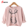 T Shirt Girl New Autumn 2016 Fashion Cartoon Rabbit Kids T Shirt Girls Long Sleeve Bat Sleeve Children Clothing 3308Z