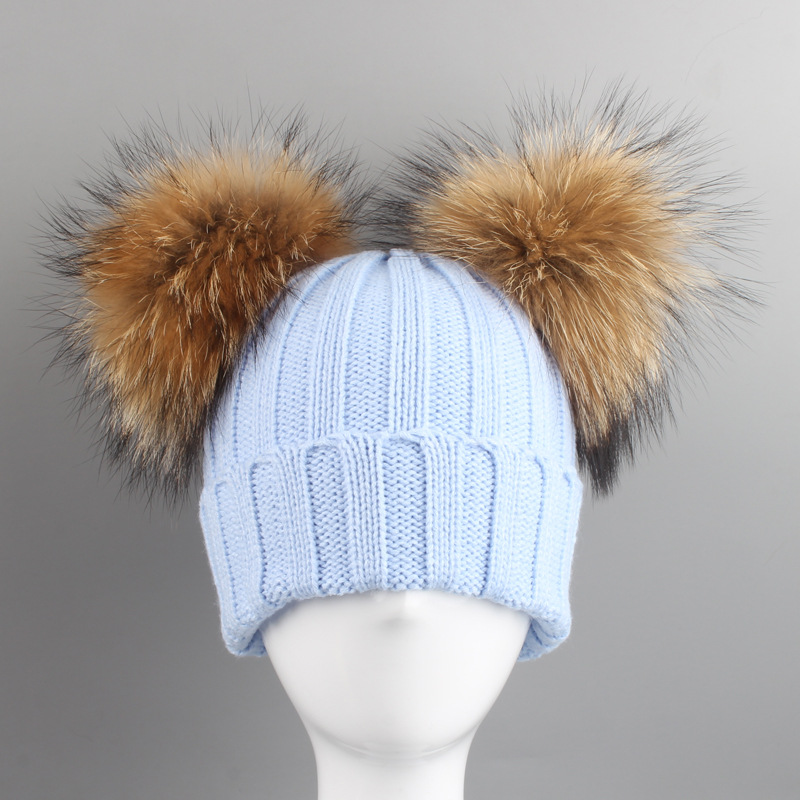 Baby Girls Boys Knitted Pom Pom Hat Two Pompoms Winter Autumn Children Caps Kids Pompom Girl Boy Double Raccoon Fur Beanie Hats 2016 real mink fur knitted hats for winter autumn girls fur cap with fox fur pom pom top high quality female knitted beanies hat