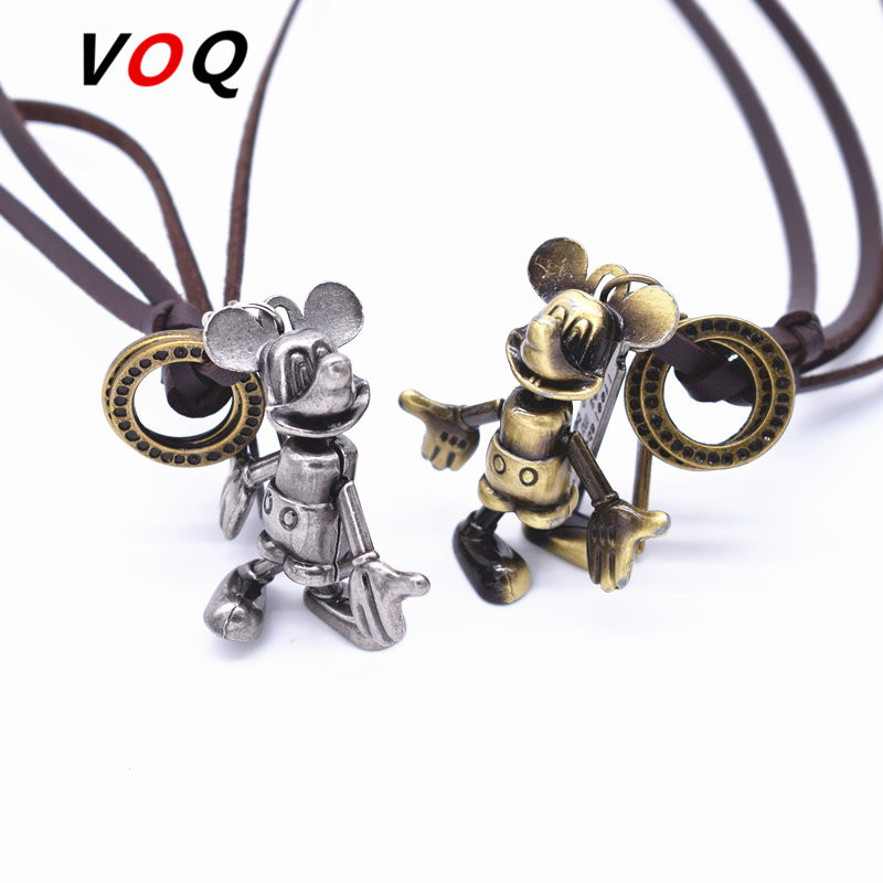minnie 3d rotating mickey mouse necklaces women men vintage leather choker jewelry collier ras. Black Bedroom Furniture Sets. Home Design Ideas