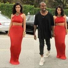 Kim Kardashian Kleid Halfter Ärmellose Bodenlangen Tiered Zwei Stück Mantel Red Abendkleider. Grammy Awards Kleider
