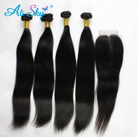Ali Sky 3 Bundles Straight Hair With Lace Closure Malaysian Non Remy Free Middle Three