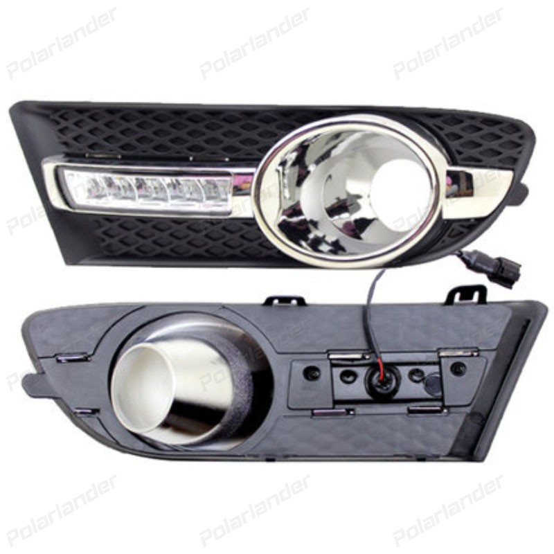 2 pcs Daytime Running Lights LED DRL With Fog Lamp Cover Case for B/uick E/xcelle G/T High Configuration 2010 -2013