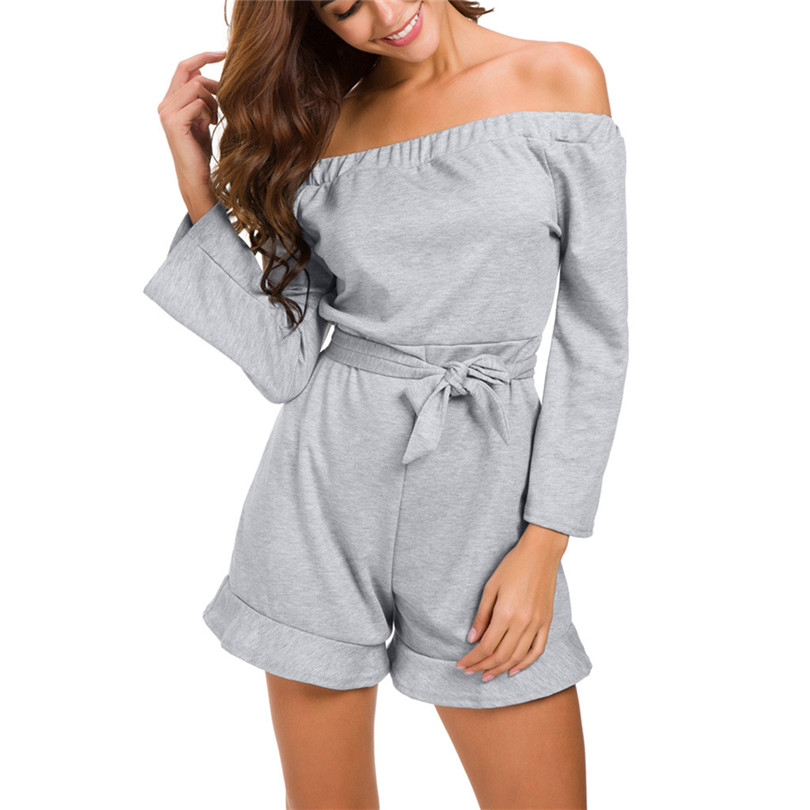 Off Shoulder Playsuit Women Long Sleeve Sexy Jumpsuit Solid Overalls Belt Rompers Jumpsuit Casual Macacao Feminino 40SY1405